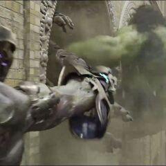 Hulk attacking The Chitauri.