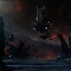 Thanos on his floating throne in the Sanctuary with The Other, Nebula, and Ronan.