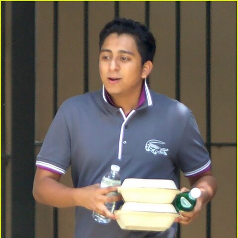 Tony Revolori on set.
