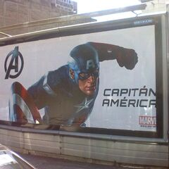 Promotional billboard featuring Captain America.