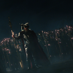 Odin leads his warriors against Laufey's army.