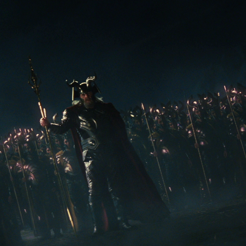 Odin leads an army of Einherjar against the Frost Giants in defense of earth in 965 A.D.