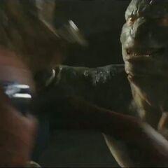 The Lizard attacks Spider-Man.