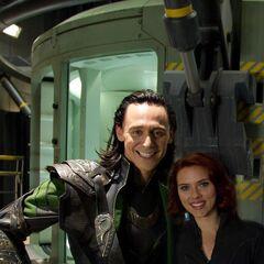 Tom Hiddleston (Loki) on the set with Scarlett Johansson (Black Widow).