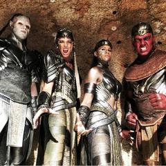 The Ancient Egypt Horsemen. L-R: Pestilence, Death, Famine and War.
