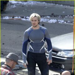 Aaron Taylor-Johnson on set as <i>Quicksilver</i>.