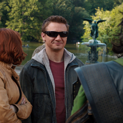 Hawkeye smirks at Loki