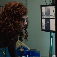 Natasha fixes the War Machine suit.