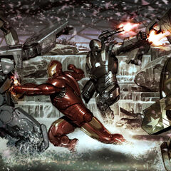 Iron Man and War Machine vs. Hammer drones concept art