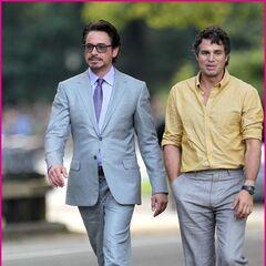 Mark Ruffalo's Bruce Banner on set with Robert Downey Jr.'s Tony Stark.