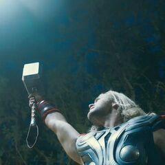 Thor summoning lightning.