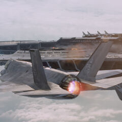 An F-35 flying by the Helicarrier.