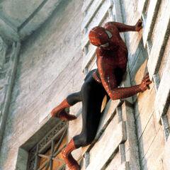 Spider-Man wall-crawling.