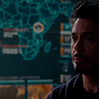 Wakanda labelled on the map behind Tony.