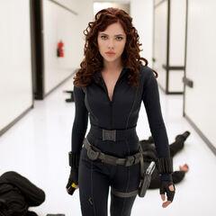 Natasha Romanoff took down Justin Hammer's guards.