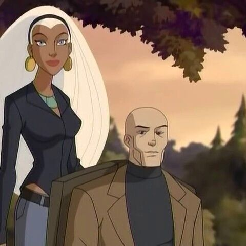 Ororo with the Professor shortly before the explosion.