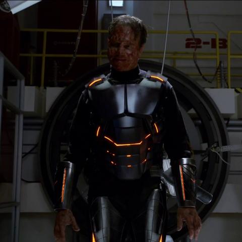 John Garrett as full upgraded Deathlok moments before his death.