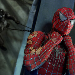 Spider-Man being choked by <a href=
