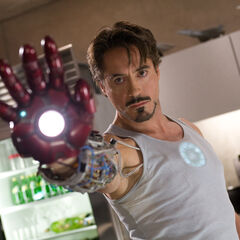 Tony testing the repulsor rays.