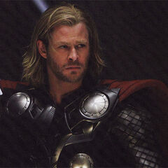 Thor in his Asgardian robes.