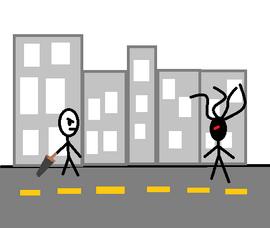 Stick Man vs. Dreadlock