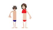 Dan Kuso and Miyoko Kuso wearing swimsuit