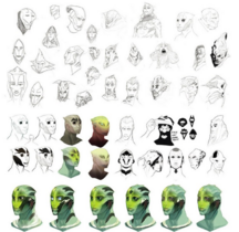 Teihn Crios Early sketches and concept art of the face