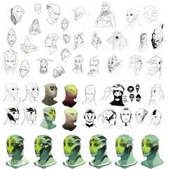 Ранние наброски и концепт-арт лица Тейна