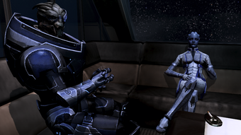 Normandy - garrus and liara in the lounge