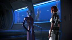 Лиара на Нормандии. Mass Effect 2