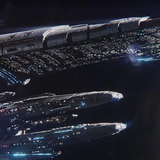 Die Nexus mit zwei Archen beim Erreichen von Andromeda