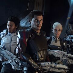 Peebee, Liam, Ryder, Cora, Drack