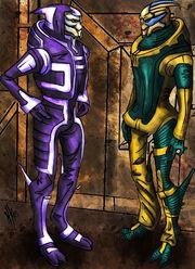 Two Turians with Omega by Yanarada