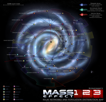 Mass effect 1 2 3 relay network and population map by kuraiummei-dagwghk