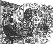 Новый Оденсе порт иллюстрация