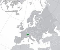 Mapa Szwajcarii w Europie