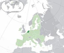 Mapa Holandii w Europie