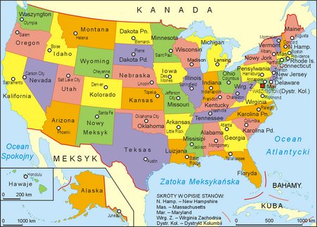 Stany Zjednoczone, mapa administracyjna