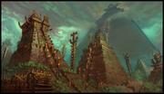 1256x723 4651 Temple City 2d architecture temple mist jungle lizard pyramid mayan fantasy picture image digital art