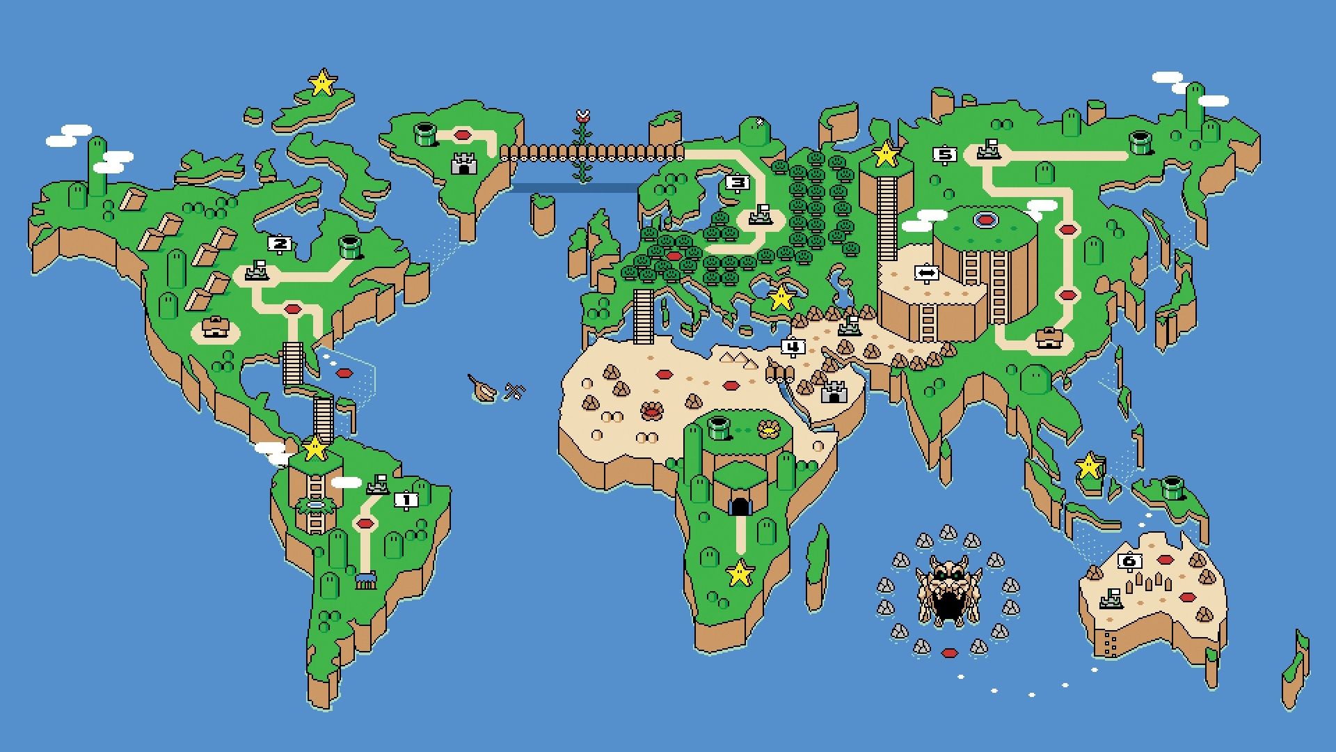 World Map Mario Style Desktop Wallpaper 21240 1920x1080