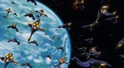 Makino attacking Earth