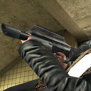 La perforadora en las manos de Max Payne.
