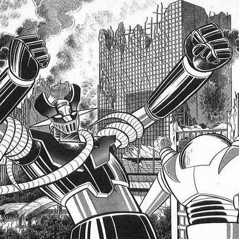 A postcard featuring Bazin B9 and Baramas Y1 fighting Mazinger Z