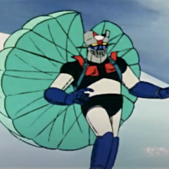 Mazinger Z with a Parachute