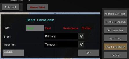 Start location