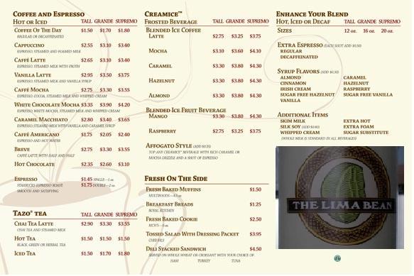 Lima bean menu