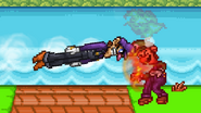 Luigi being hit by Purple Torpedo from Waluigi