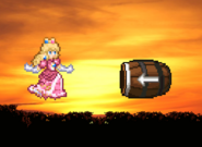 Peach and the Barrel cannon