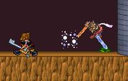 Sora attacks Lloyd with Blizzard
