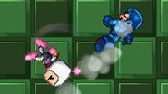 Bomberman using Bomb Kick to Mega Man in the air